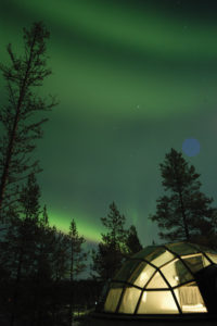 Kakslauttanen Glass Igloo, Finland. Photograph courtesy of Kakslauttanen Artic Resort