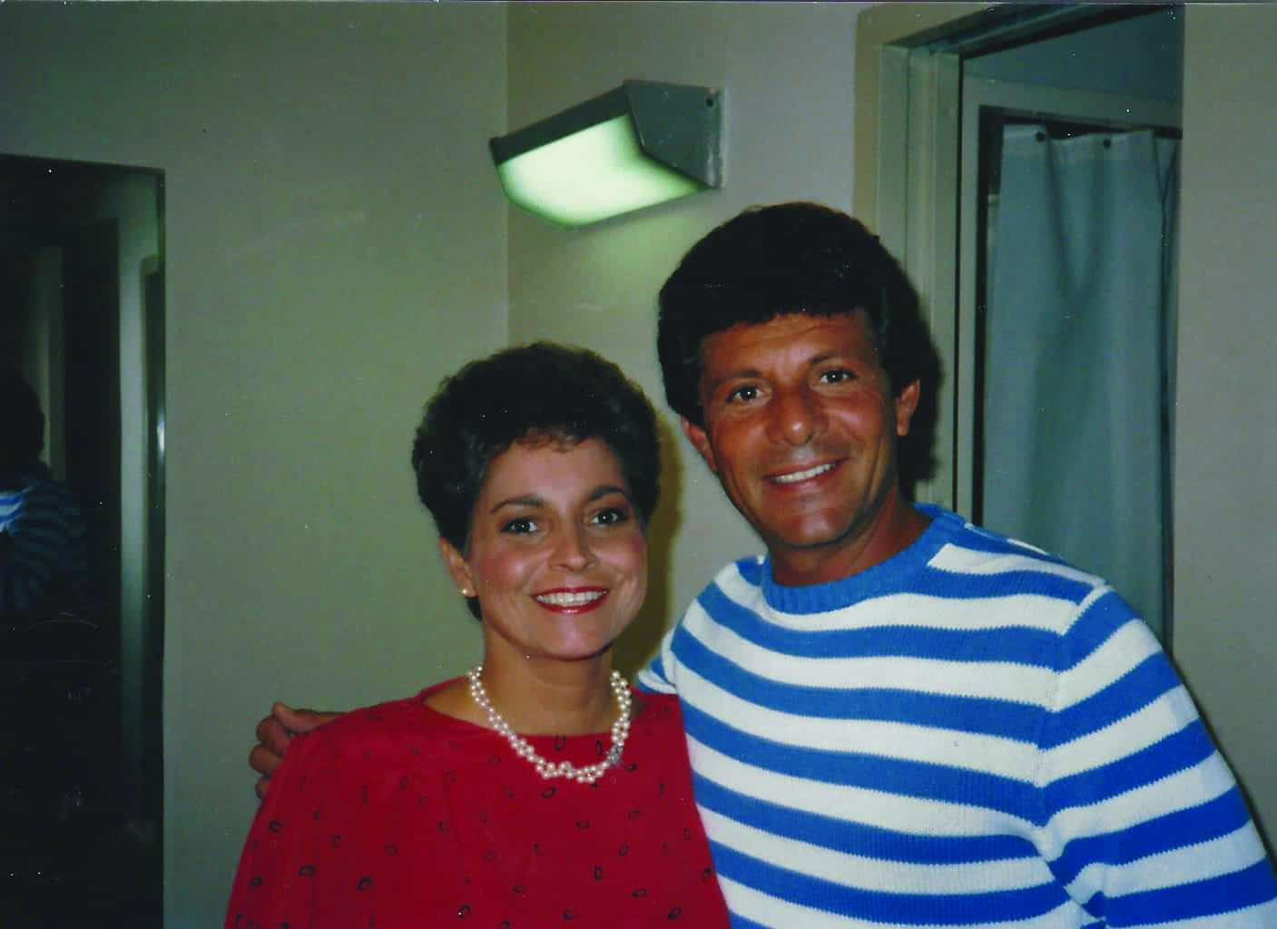 Arlene with singer Frankie Avalon at an American Bandstand event.