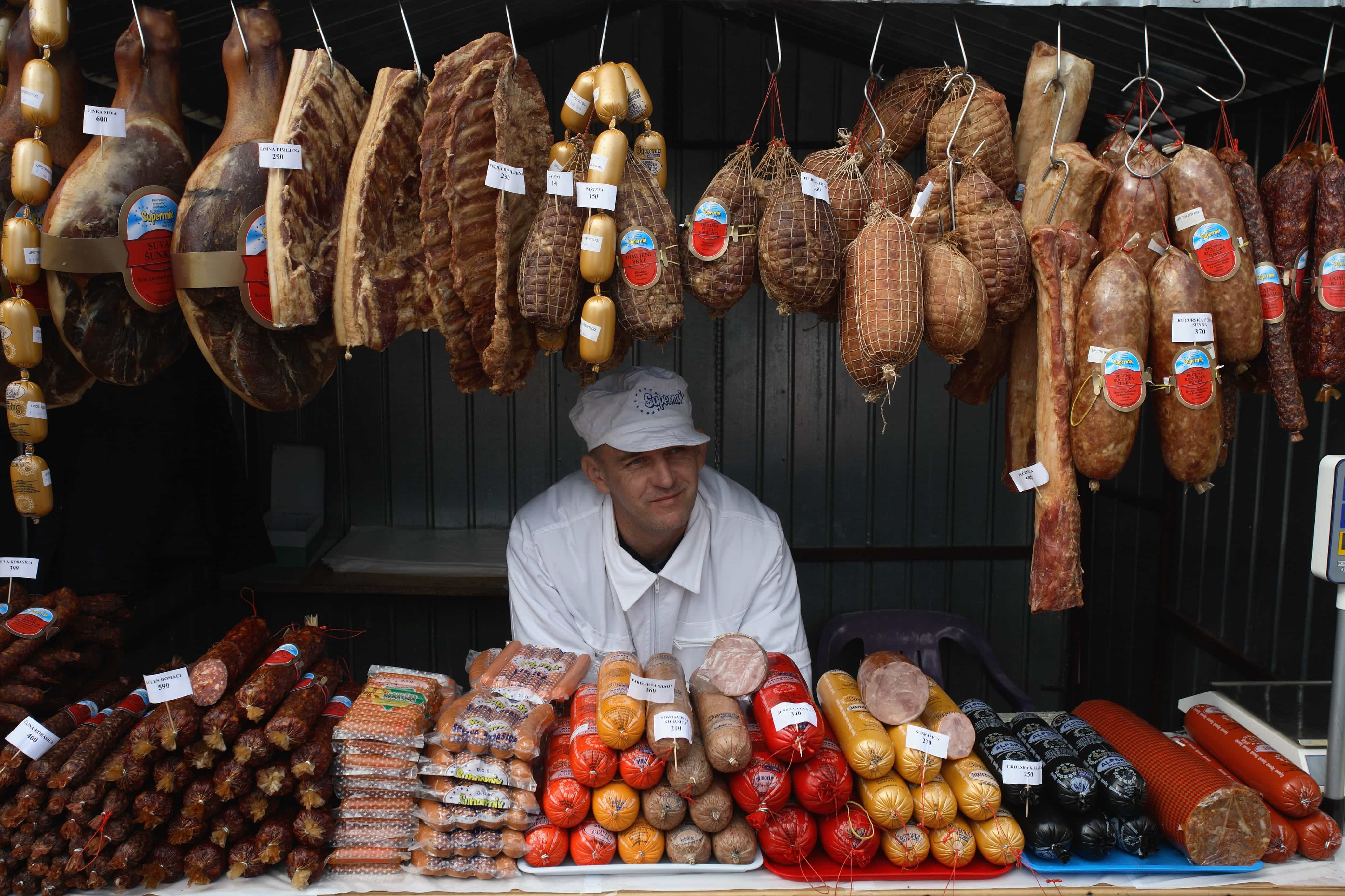 Vendor selling sausages in Turija in Belgrade, Serbia