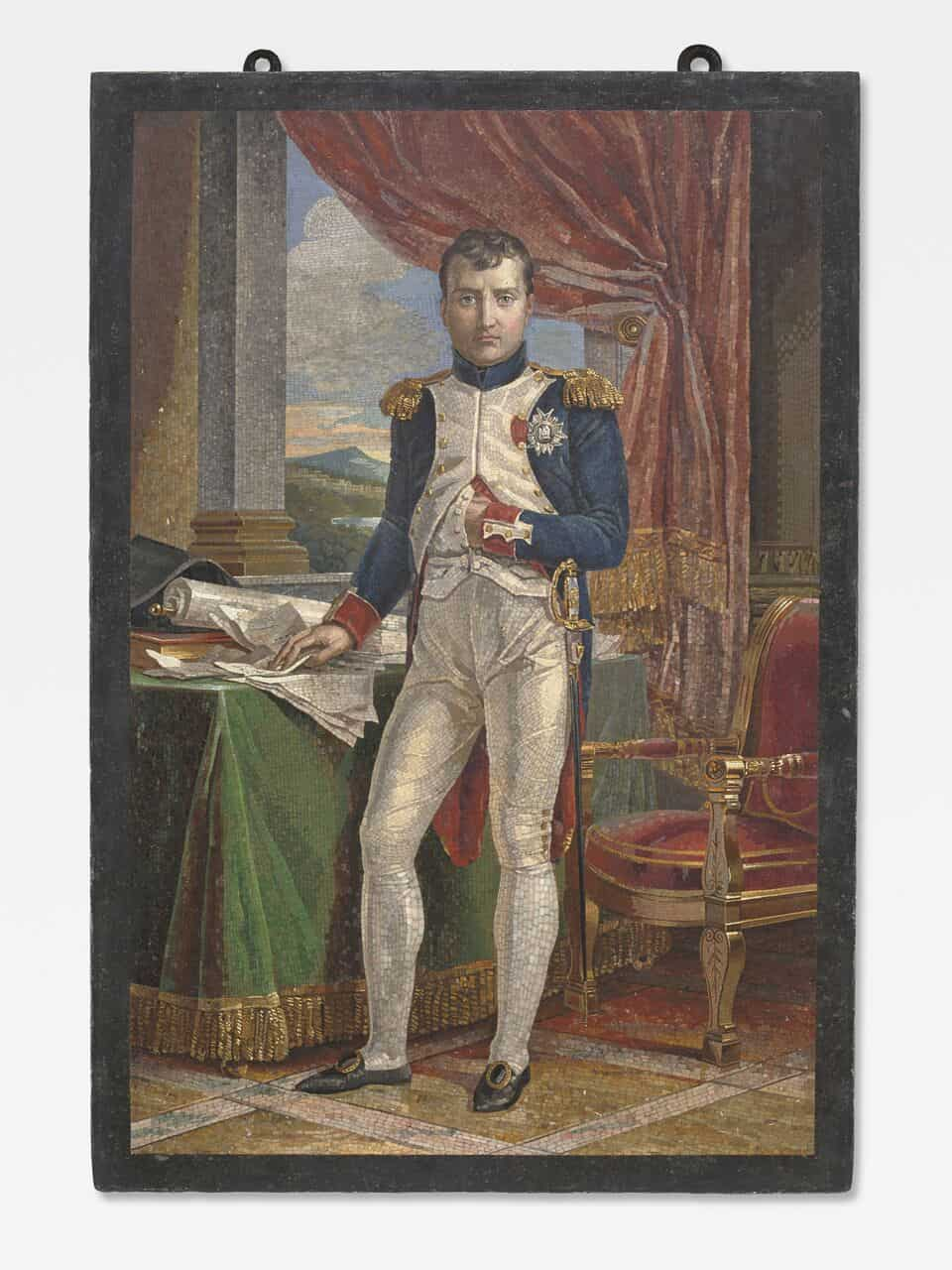 Napoleon in his study wearing the uniform of a Grenadier of the Guard