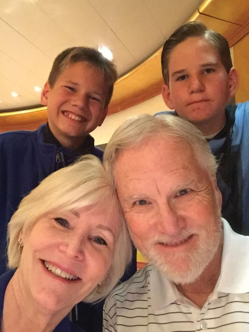 Jill and Ron Bondy with Logan and Connor on a cruise ship | Photograph courtesy of Jill Bondy