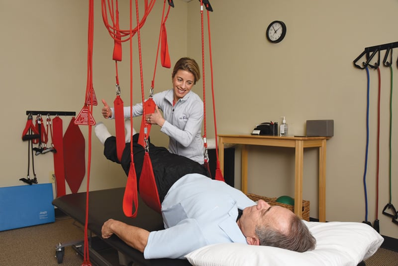 A patient using the Redcord system at Re-Kinect | Photograph courtesy of Re-Kinect Medical Exercise Specialists