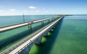 Seven mile bridge aerial view Image