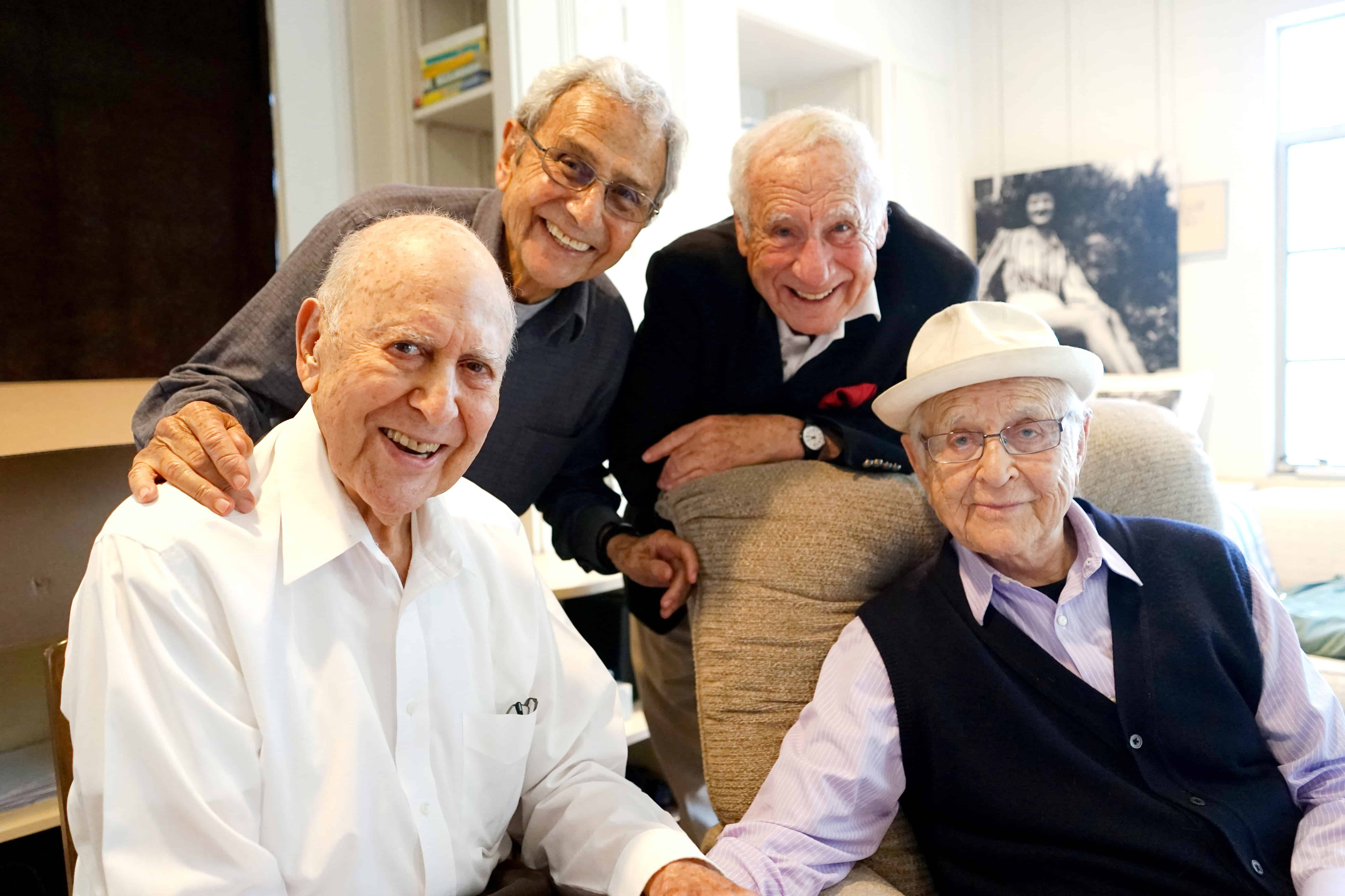 Carl Reiner, front left, with George Shapiro, Mel Brooks, and Norman Lear who appear in If You_re Not in the Obit, Eat Breakfast - Courtesy of HBO