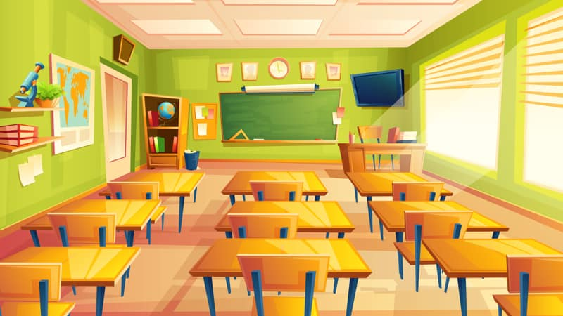 Vector cartoon empty school, college classroom Image