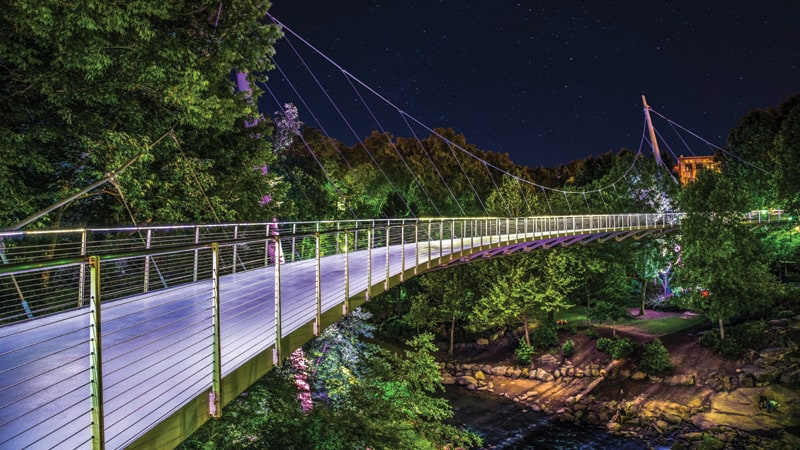 Illuminated Liberty Bridge in Downtown Greenville South Carolina Image