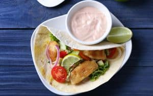 Spiced Catfish Tacos with Pickled Shallots and Chipotle Crema Image