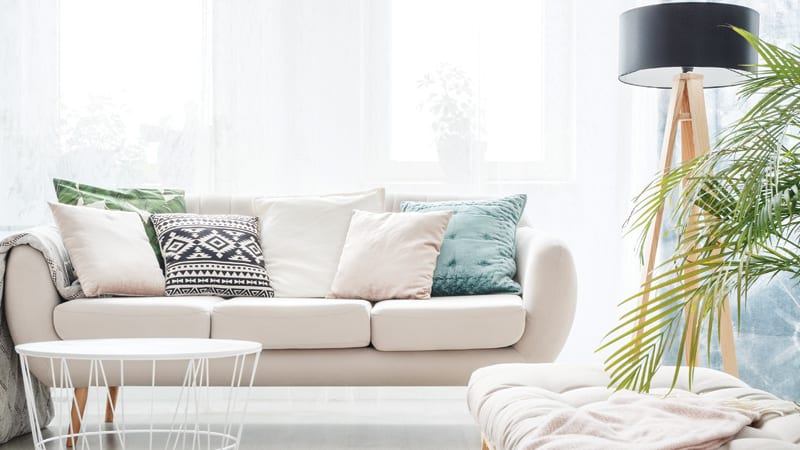 Settee in bright living room Image