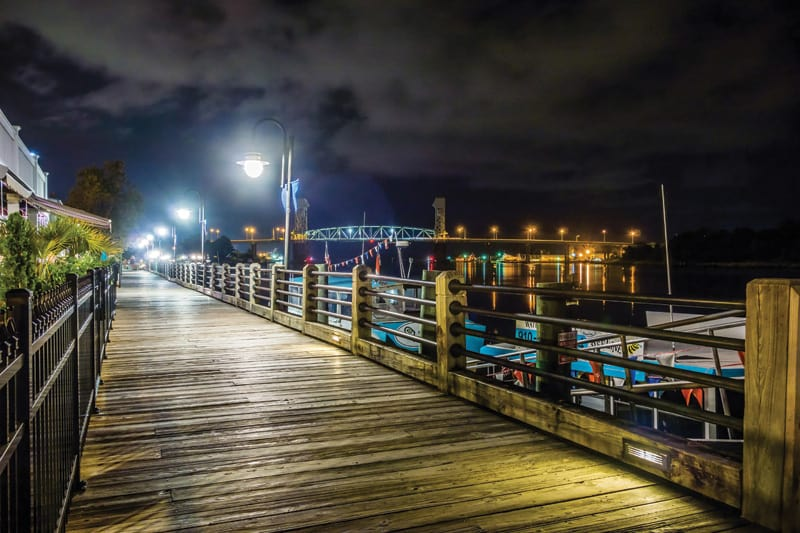 Riverfront boardwalk in Wilmington