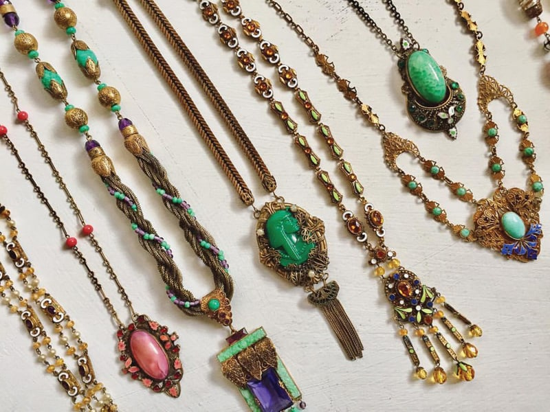 A collection of art glass and enamel necklaces from the Art Deco era | Photograph by Kath Parker from Bygones Vintage