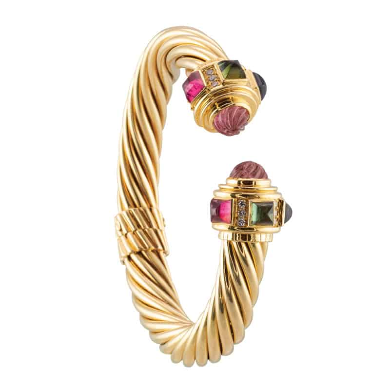 Estate 18 karat yellow gold hinged cuff bracelet | Photograph courtesy of Carreras Jewelers