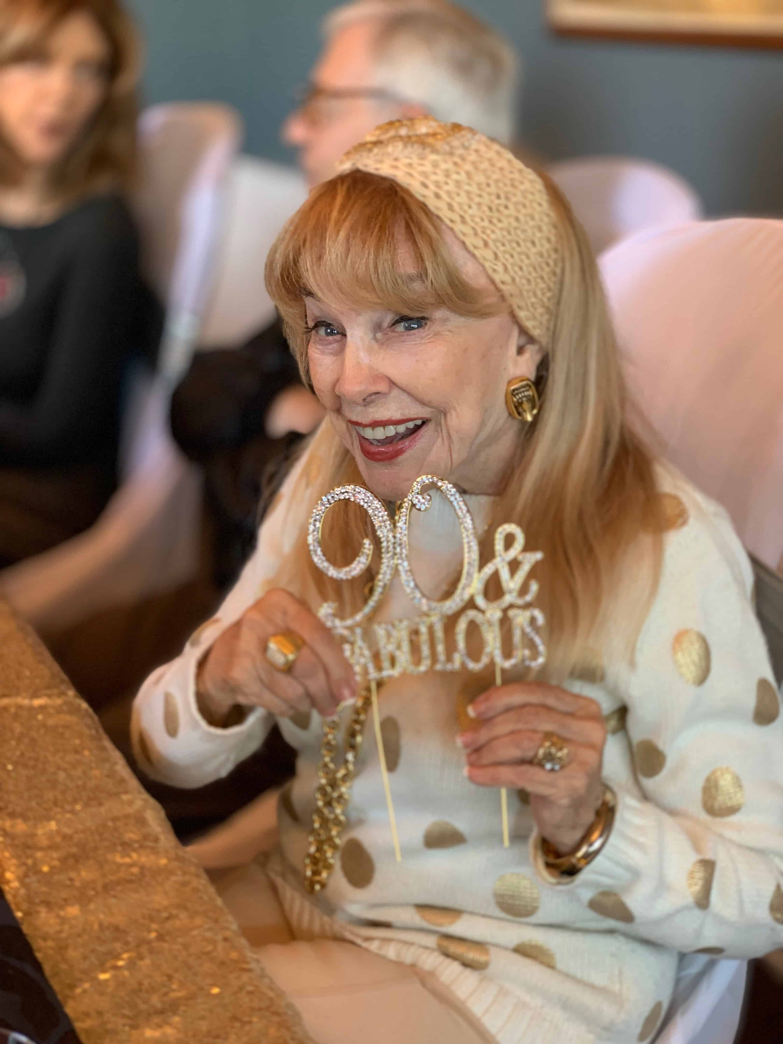Terry Moore celebrating her 90th birthday