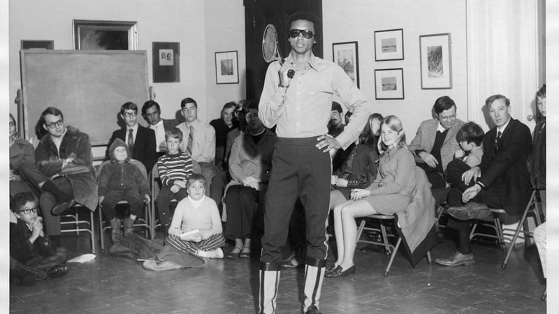 Arthur Ashe conducting a tennis clinic at The Valentine Museum | Photograph courtesy of The Valentine