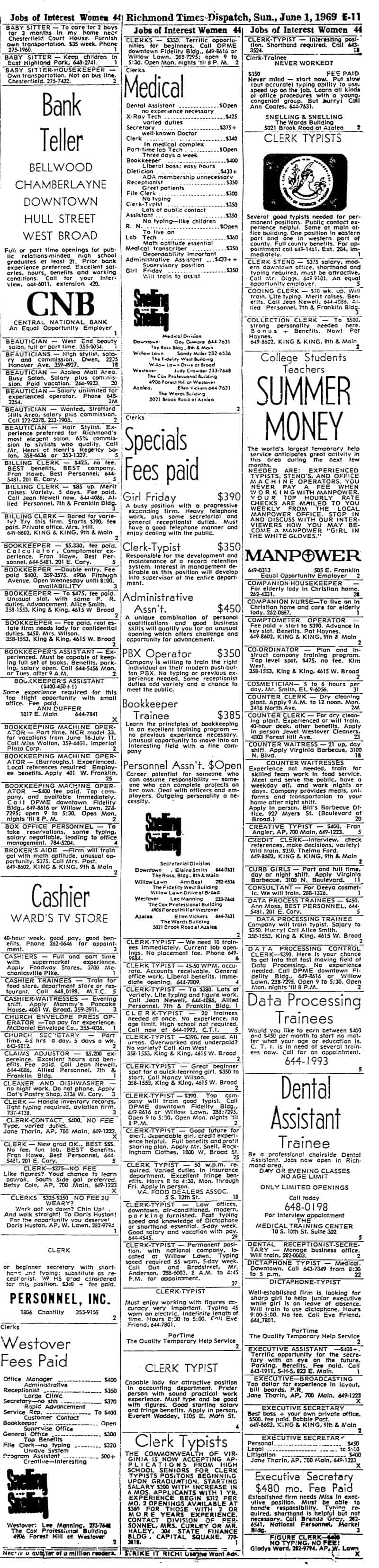 Help Wanted 1969 women From NewsBank database on the Library of Virginia website