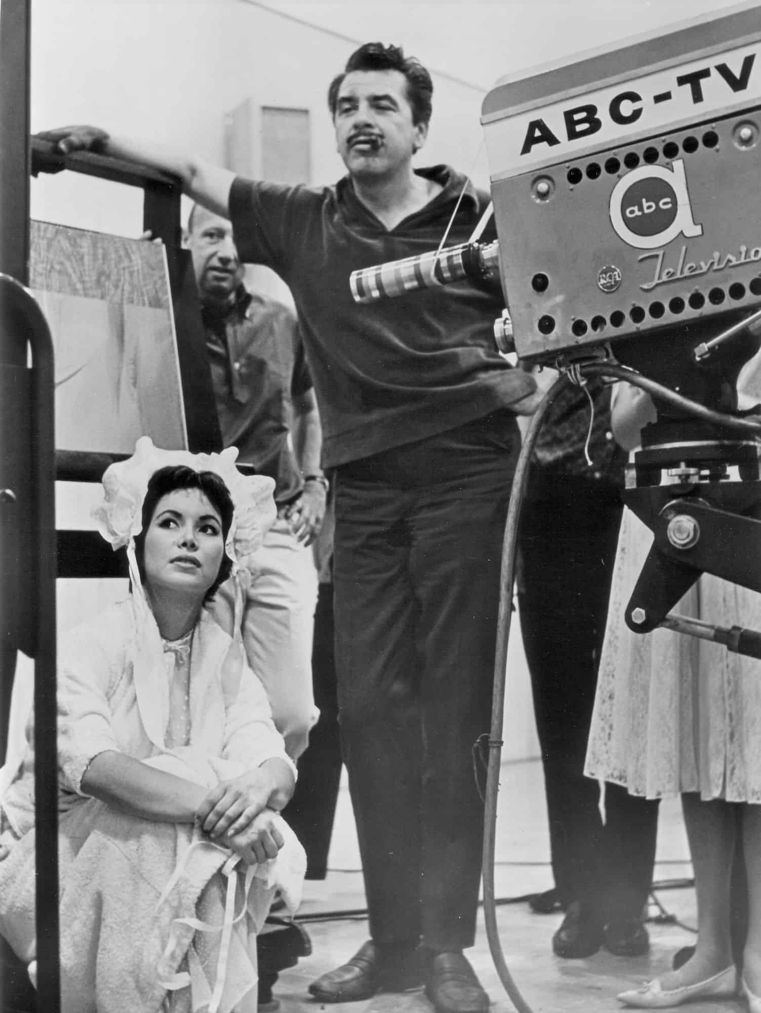 Ernie Kovacs and Jolene Brand on the set | Photo credit Ediad Productions and National Comedy Center