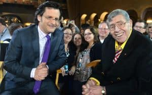 Weekend daytime host of Turner Classic Movies, Ben Mankiewicz and comedian Jerry Lewis on April 12, 2014 in Hollywood, California | Photo by Alberto E. Rodriguez/WireImage Image