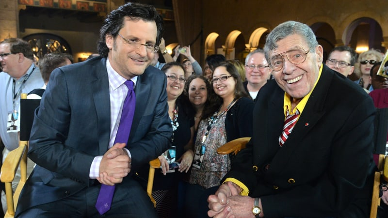 Weekend daytime host of Turner Classic Movies, Ben Mankiewicz and comedian Jerry Lewis on April 12, 2014 in Hollywood, California | Photo by Alberto E. Rodriguez/WireImage