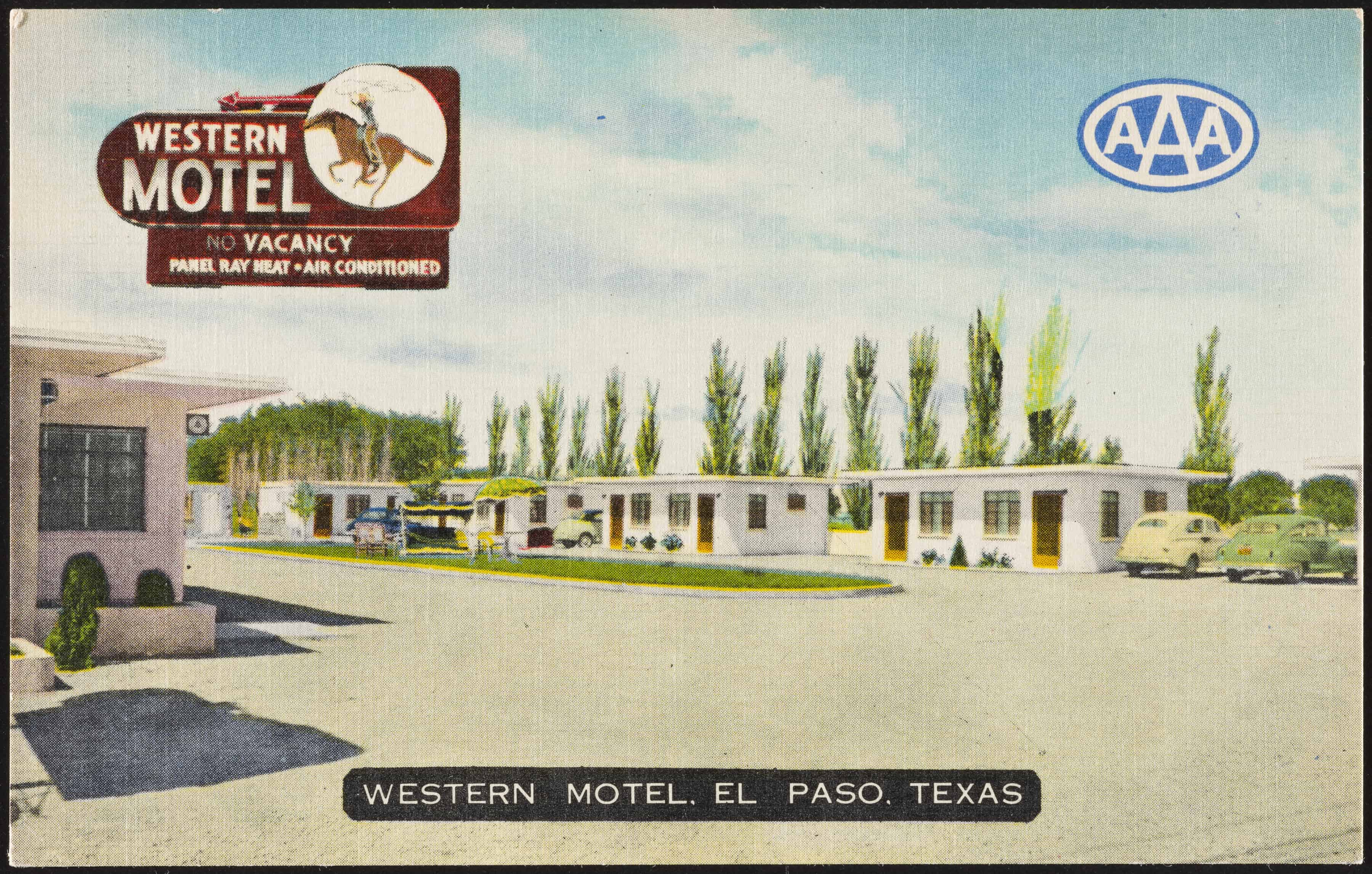 """Postcard Western Motel, El Paso, early 1950s Private collection"""