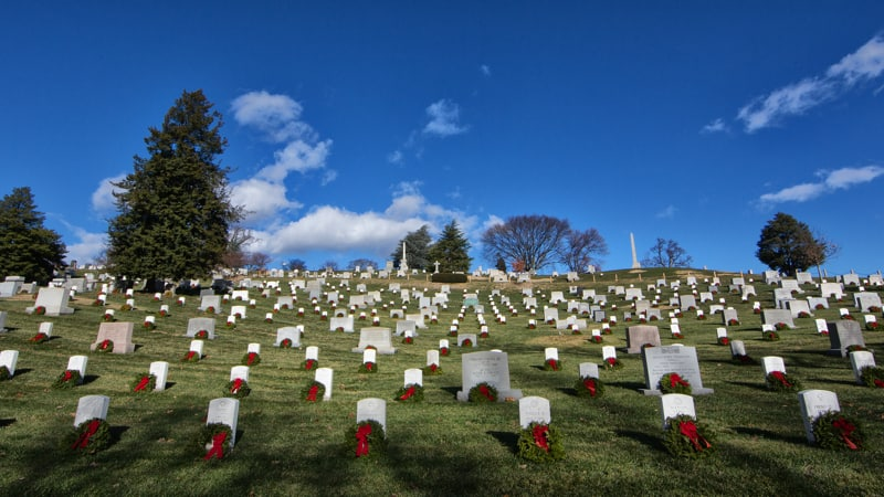 Wreaths on soldier graves through the Wreaths Across America program Image