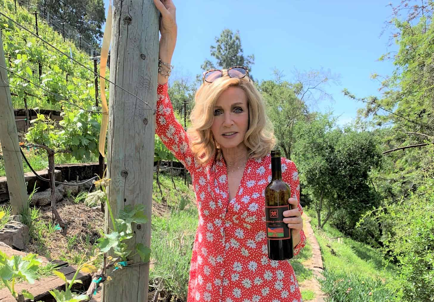 Donna Mills in her backyard, home to Mandeville Vineyards