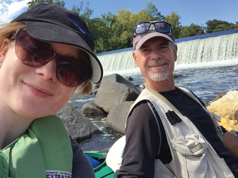 Lee Graves and his daughter Cassie paddling by Boasher Dam