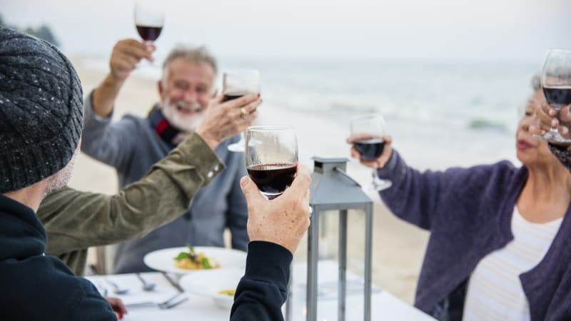 Seniors toasting red wine because it's a delicious wintertime treat Image