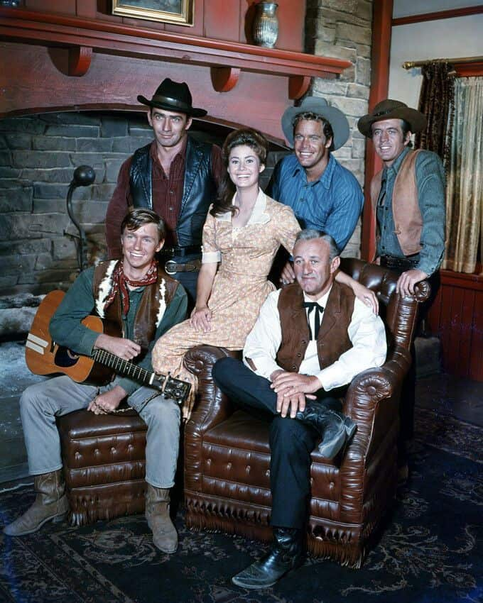 Cast of The Virginian with James Drury