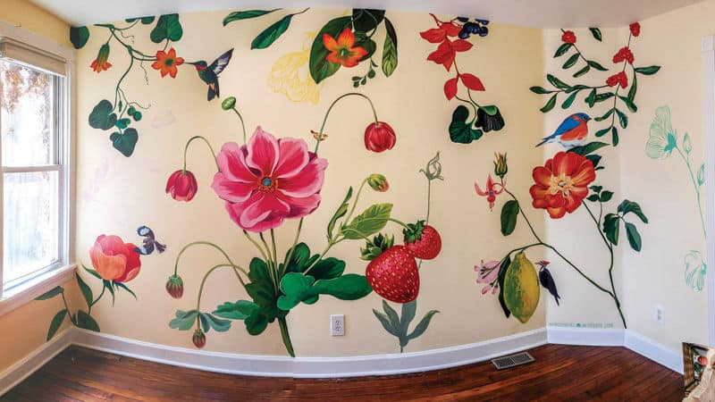 Home mural with flowers and stuff Image