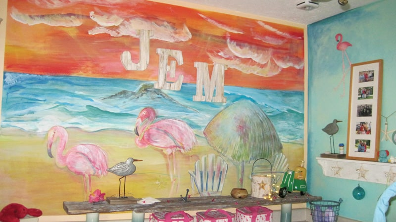 Home mural with a flamingo or two