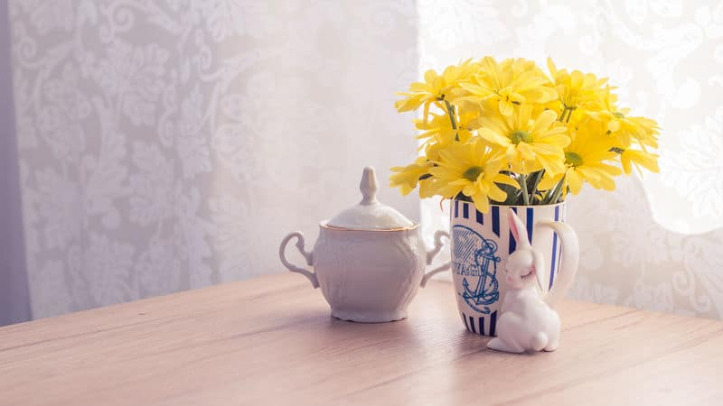 Yellow flowers in a morning kitchen Image