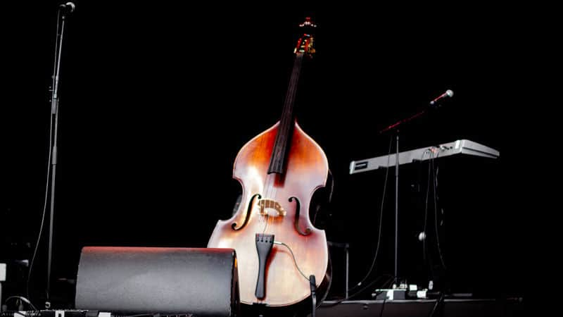 Cello all by itself on the stage Image