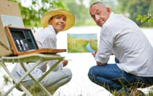 Couple Bored at Home painting outside Image