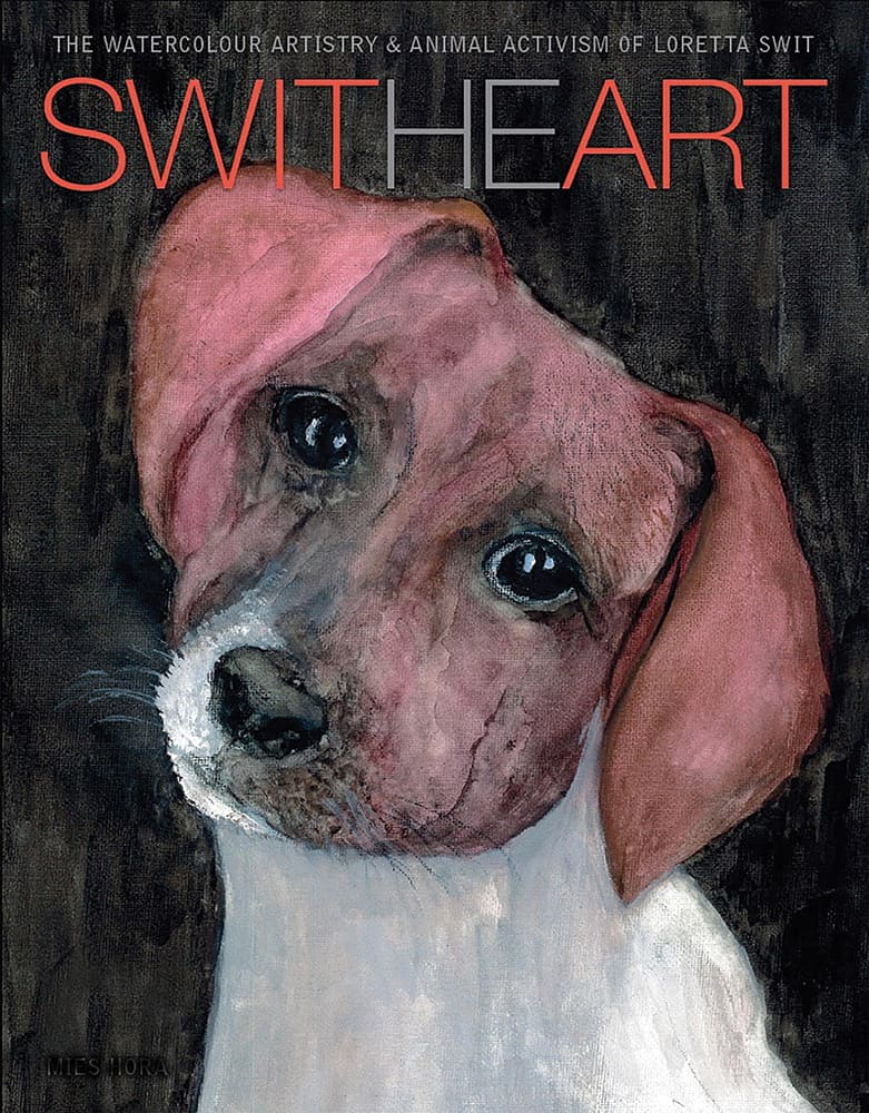 "The front cover of Loretta Swit's 2016 coffee-table book, ""Switheart: The Watercolour Artistry & Animal Activism of Loretta Swit"""
