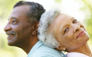 A senior couple celebrating the delights in their life Image