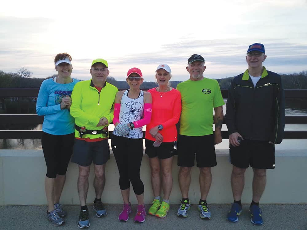 Runners on the Huguenot Bridge for a morning run