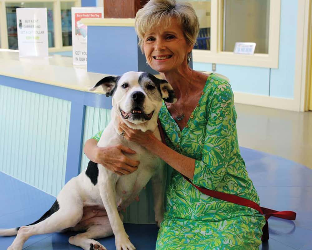 Robin Starr with Minnie at the Richmond SPCA