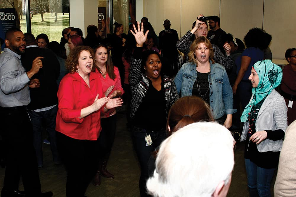 Christine Walters, left, leads an improv exercise