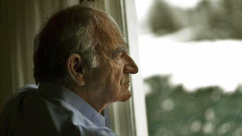 A father looks out the window contemplating his life Image