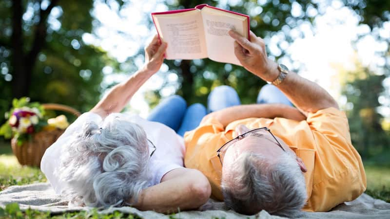 Seniors having a romantic picnic and reading Image