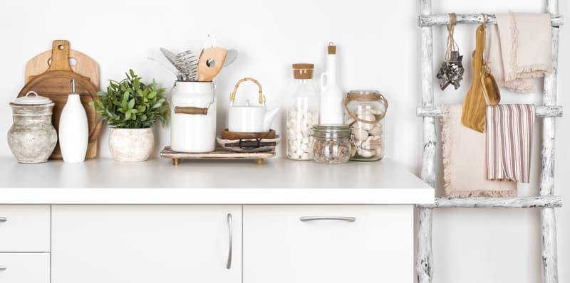 Farmhouse décor pieces in a kitchen