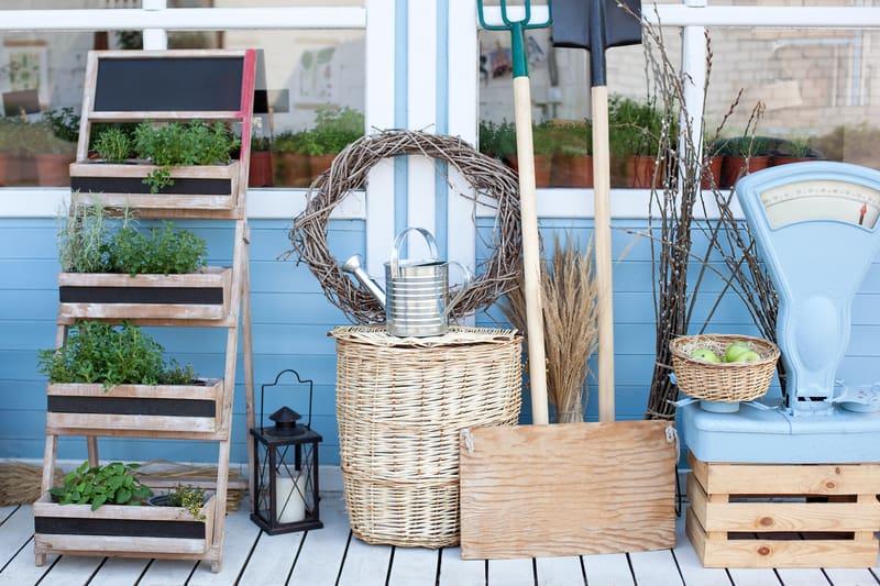 Farmhouse décor pieces in a home