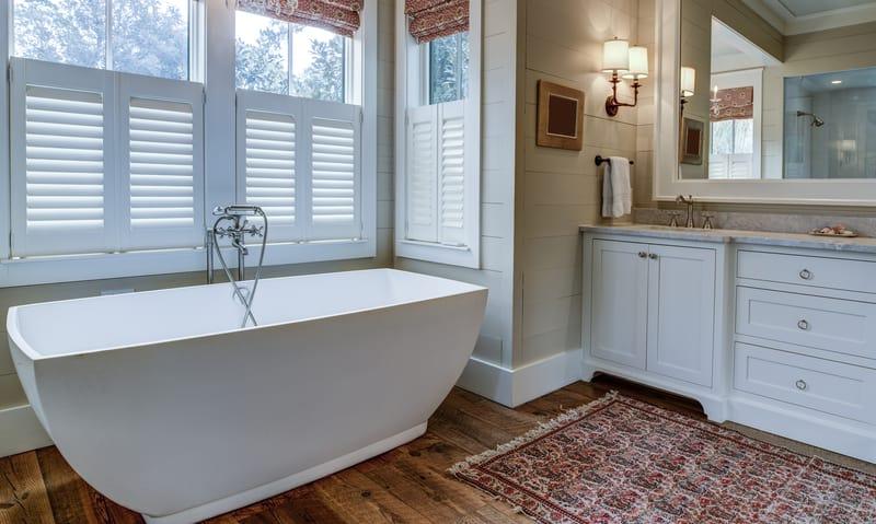 Farmhouse décor pieces in a home bathroom