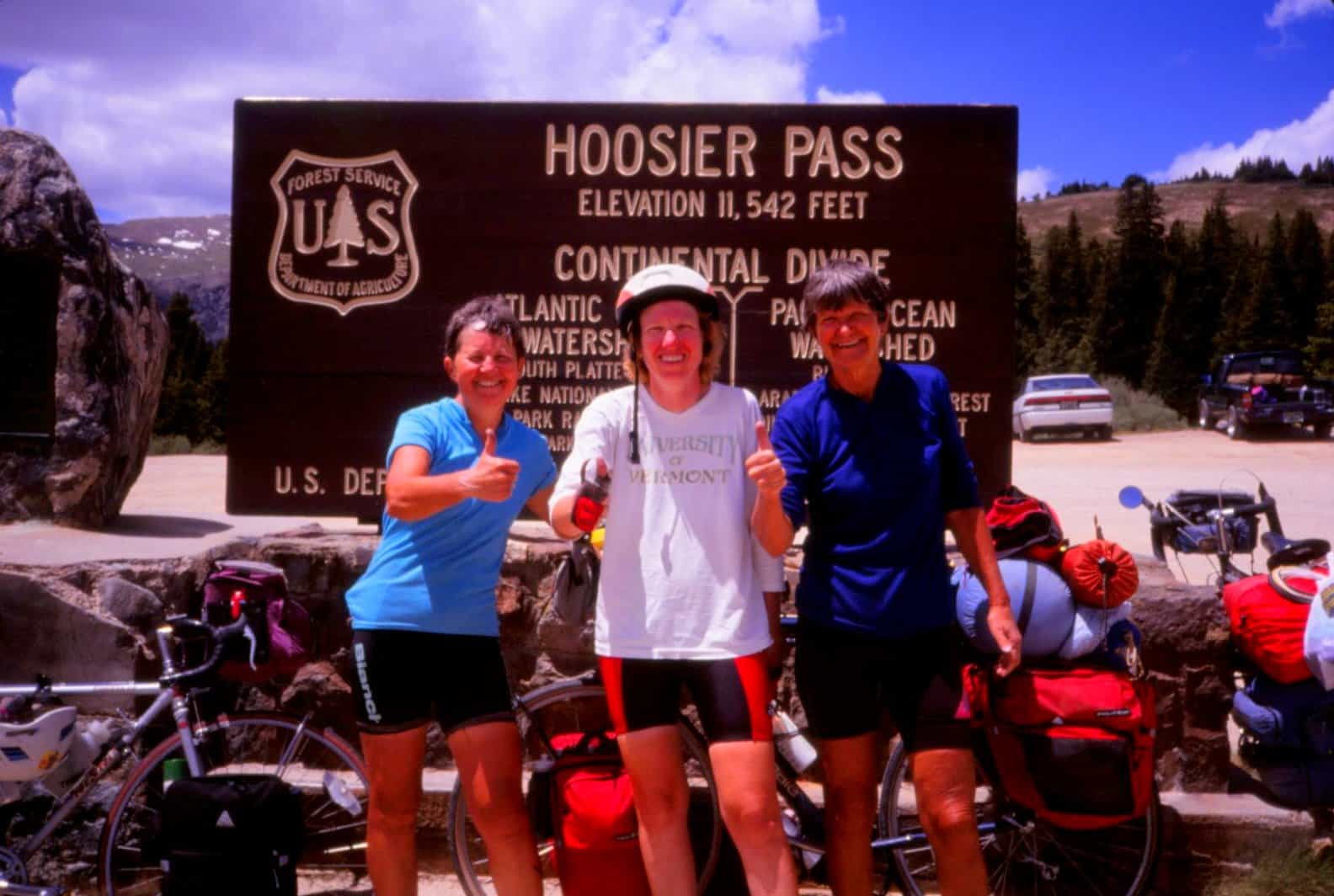 3 female cyclists at Hoosier Pass