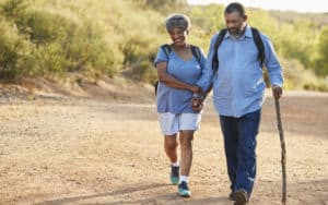 Seniors on an exercise hike to help prevent COVID Image