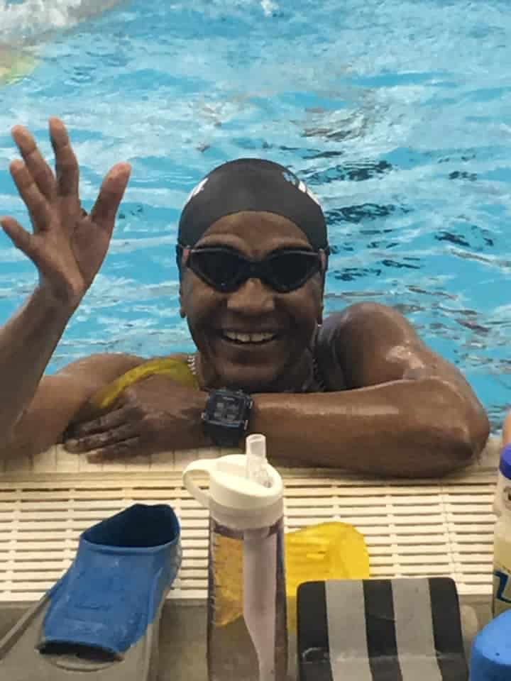 Lenora Mariner, triathlete, during swim training