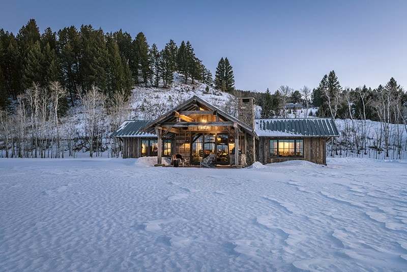 Bridger Canyon Guest House exterior, in wintry beauty