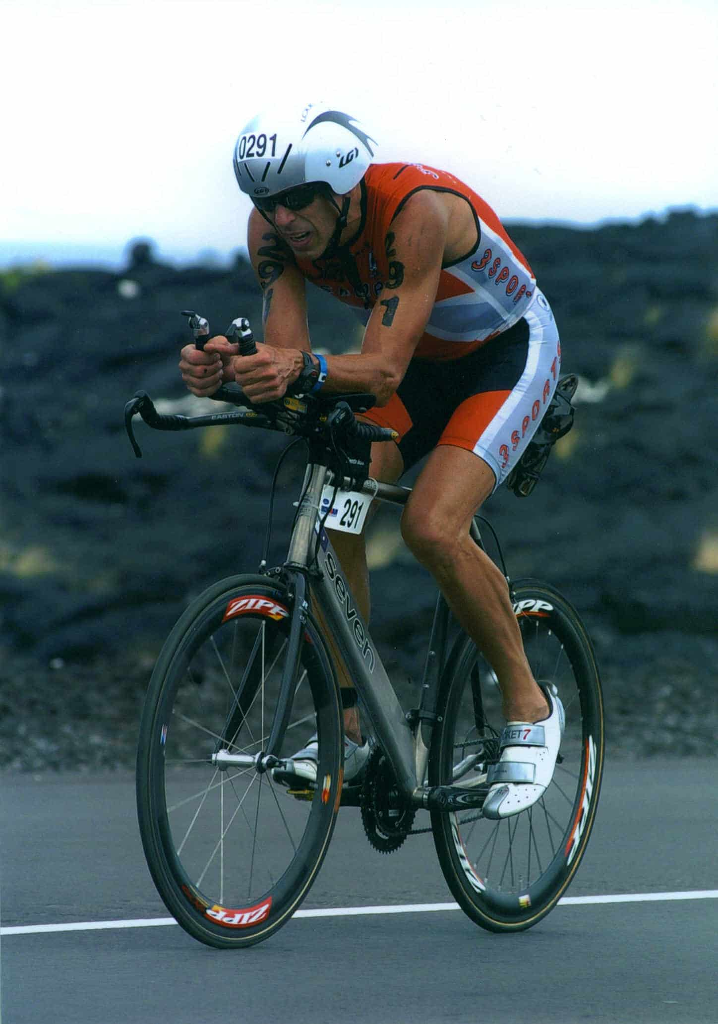 Tom Waldrop, triathlete after age 50, biking at Ironman World Championships, Kona, HI