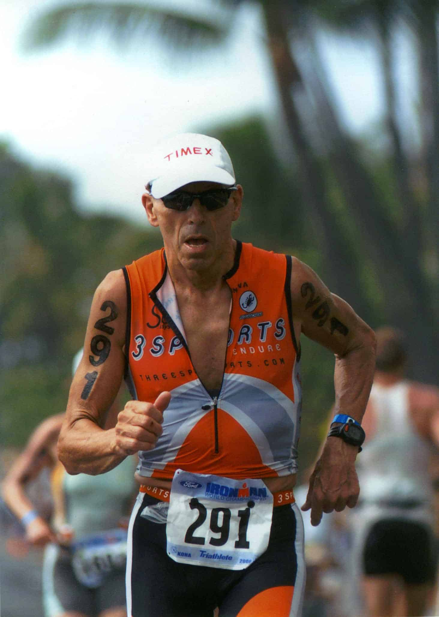 Tom Waldrop running at Ironman World Championships, Kona, HI