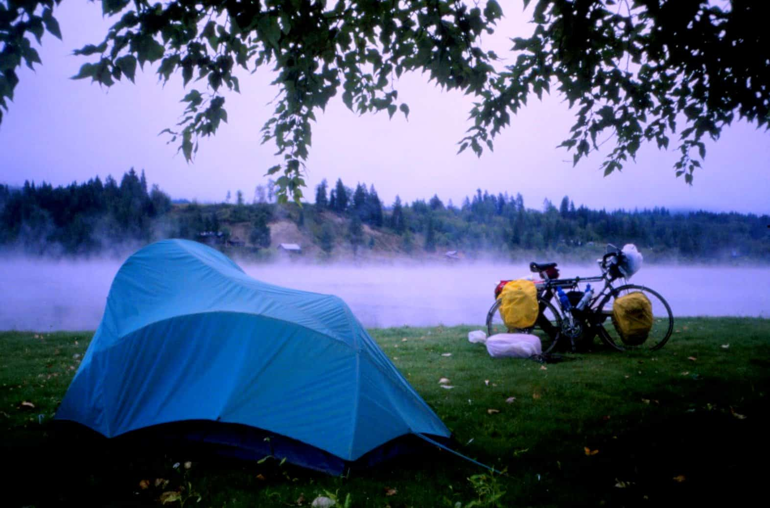 Camp site during a cycling road trip in Washington