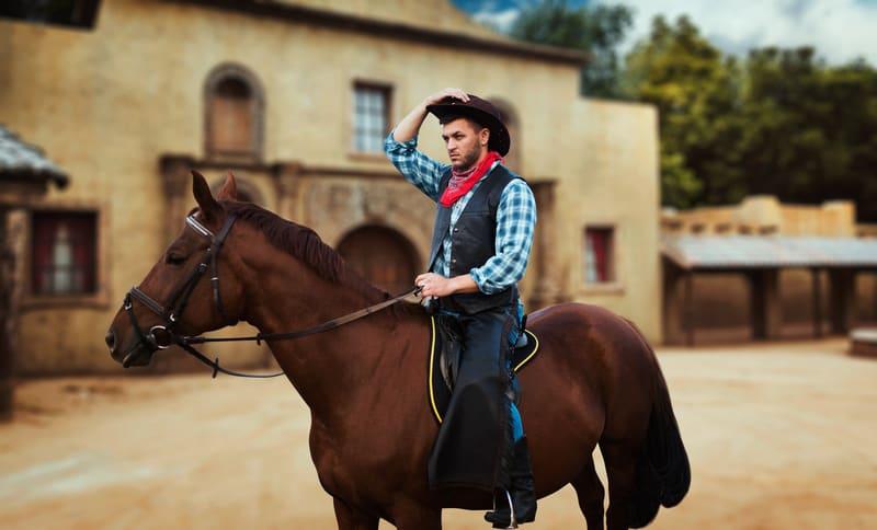 cowboy riding to town